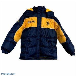 US polo assn L puffer hood coat fleece jacket blue